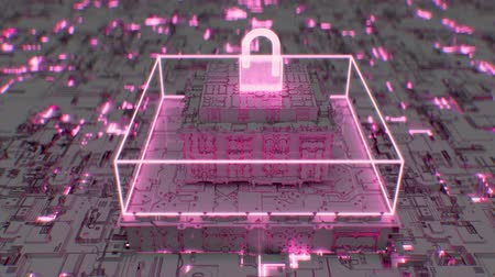 programa : 4K Futuristic depiction of advanced cybersecurity. Sophisticated 3D CGI animation. Vídeos