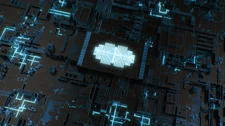 procesor : 4K Futuristic CPU, Chipboard, AI, Deep Learning Concept. Highly detailed 3D CGI animation.