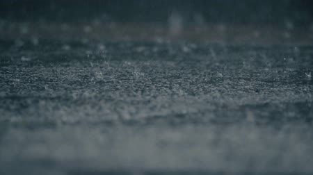 trottoir : 4K establishing shot of rain falling on pavement. Slow motion. Vidéos Libres De Droits