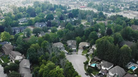 establishing shot : Aerial Establishing Shot of the Suburbs in Late Spring, Summer. Cinematic 4K Footage. Stock Footage