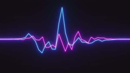 psychedelic : 4K Abstract Digital Neon Waveform. Seamless Loop.