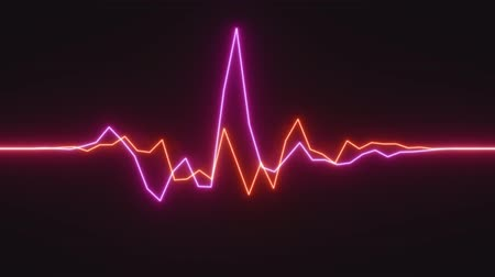 fluorescent : 4K Abstract Digital Neon Waveform. Seamless Loop.