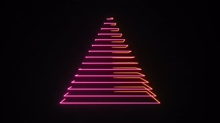 pyramida : 4K Abstract Digital Neon Pyramid. Seamless Loop.
