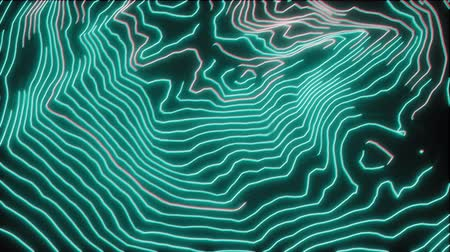 トレース : 4K Abstract Digital Neon Topography. Seamless Loop.