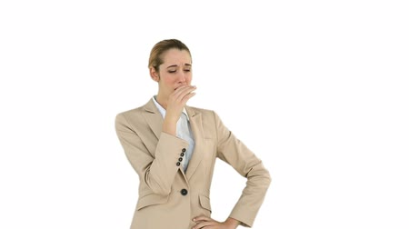 yorgunluk : Businesswoman yawning and then being passed a coffee on white screen background