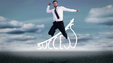 Handsome happy businesswoman jumping in front of success graphic on the sea