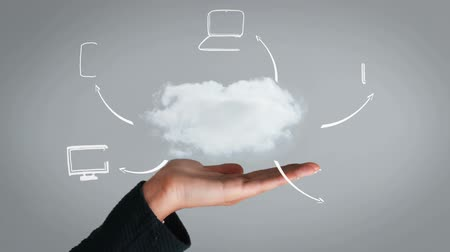 mraky : Hand presenting cloud and business plan on grey screen