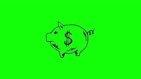 Gestating white piggy bank with dollar sign on it on green screen Vídeos
