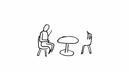 Animation of slowly appearing painted people sitting at desk chatting on white screen Vídeos