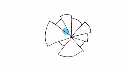 Animation of abstract colourful pie chart on white background Vídeos