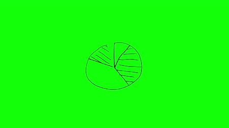 Animation of appearing white pie chart on green background