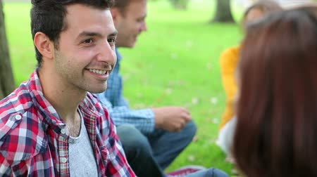 Smiling students chatting together on the grass on college campus