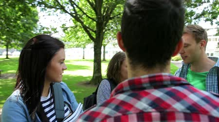Students chatting together outside on college campus