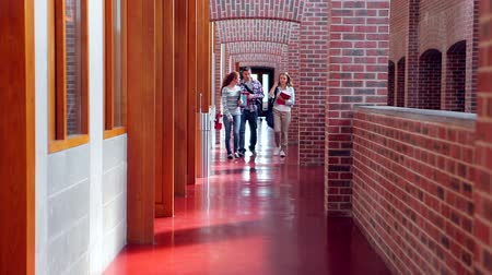Smiling students walking down the hall in college