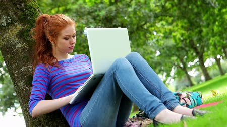 Student sitting against a tree using her laptop on college campus