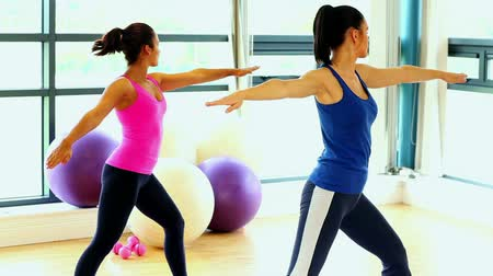 Lovely slender women doing yoga standing in fitness hall
