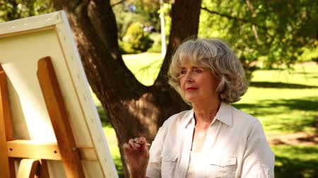 senior lifestyle : Retired woman painting outside on a sunny day Stock Footage