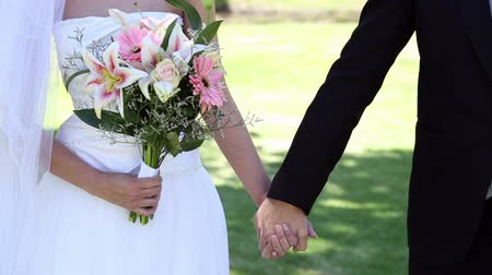 kytice : Newlyweds standing in the park holding hands on a sunny day