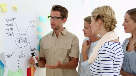 discussão : Colleagues having a meeting looking at whiteboard in creative office