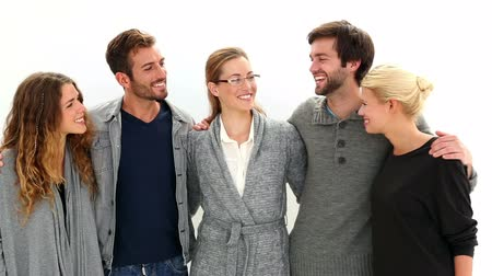 counselling : Happy group standing in a row with their therapist on white background