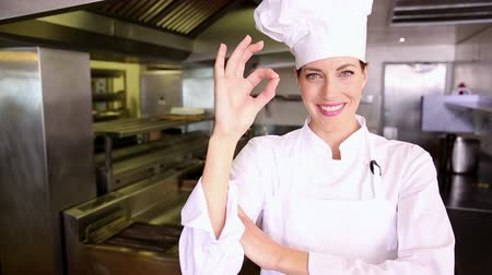 chef : Pretty chef making ok sign to camera in commercial kitchen