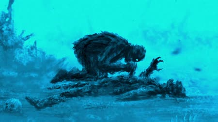 gritar : Angry zombie sits and its prey. Animation in genre of horror. Scary monster character. Blue background color.