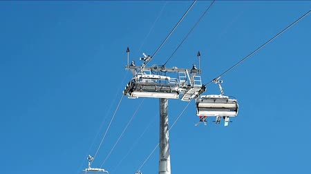 chair lift : Chairlifts at blue sky background