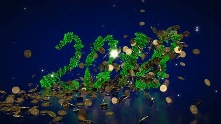 osiemnastka : The animation is gold items in the form of money and balls, which form the figures for two thousand and eighteen on the dark blue background with reflections. 3D rendering.