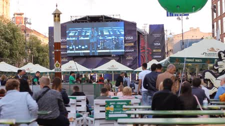 fan zone : KIEV UKRAINE May 5, 2017. Maidan . Khreshchatyk Street. Fan zone and a concert floor. Speech of the pupils of past competitions on the stage. Eurovision-2017.fan zone Eurovision Village on Kreschatik street.