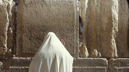 zsidó : Orthodox Jewish man pray at the Wailing wall