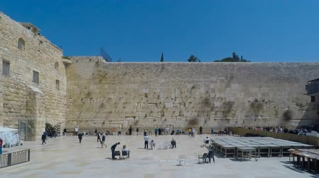 wailing : Time lapse of people at Jerusalem Wailing wall