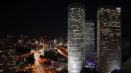 ночная жизнь : Time lapse - Tel Aviv skyline at night