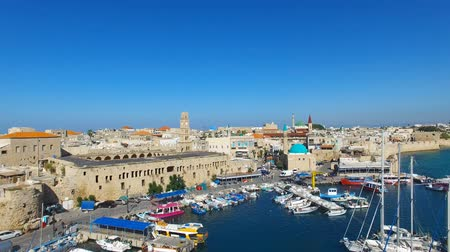 akko : Aerial footage of the Port and old city of Acre, Israel.