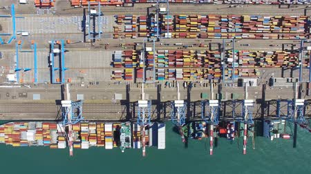 güney : Commercial port with container ship - Aerial footage