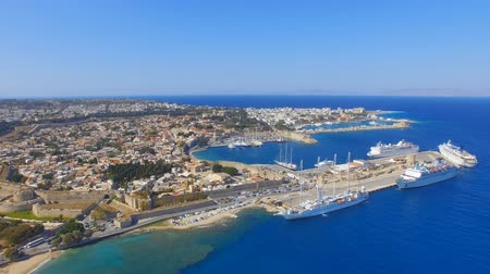 rhodes : Rhodes, Greece - Aerial view of the old town and port.