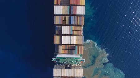 damarlar : Large container ship at sea - Aerial footage Stok Video