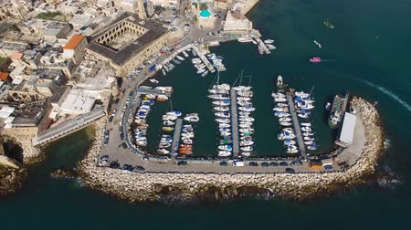 akko : Acre, Israel - Aerial footage of the old city, the ancient port and marina Stock Footage