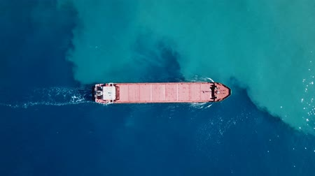 náutico : General cargo ship cruising at the Mediterranean sea - Aerial footage