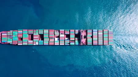 náutico : Ultra large container vessel (ULCV) at sea - Aerial footage