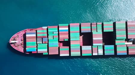 sending : Ultra large container vessel (ULCV) at sea - Aerial footage
