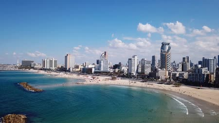 izrael : Tel Aviv coastline and skyline as seen from The Mediterranean sea.