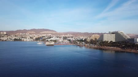 yahudi : Eilat, Israel - Aerial image, revealing Eilats skyline and the red sea
