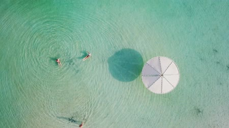 塩辛い : Top down aerial footage of people floating in the salty water of the Dead Sea, Israel.