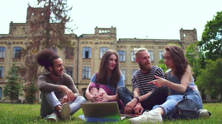 latinamerican : Happy young college fiends sitting on lawn in front of university. Stock Footage
