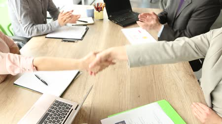 compleição : Business deal completed, partners shaking hands.