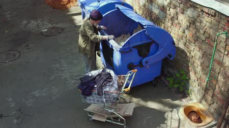酔った : Homeless man looking for food in trash can. 動画素材