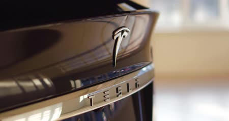 tesla car : Close up of brand logo.Tesla car concept.