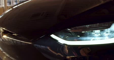 tesla car : Close up of Tesla car Model X headlight.