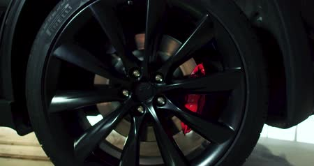 tesla car : Close up of futuristic wheels of Tesla ca Model X.