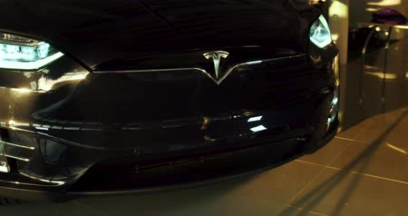 tesla car : Demonstrating of electrocar. Tesla car Model X.
